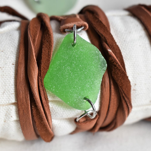 Kelly Green Beach Glass Wrap Around Bracelet on Deerskin