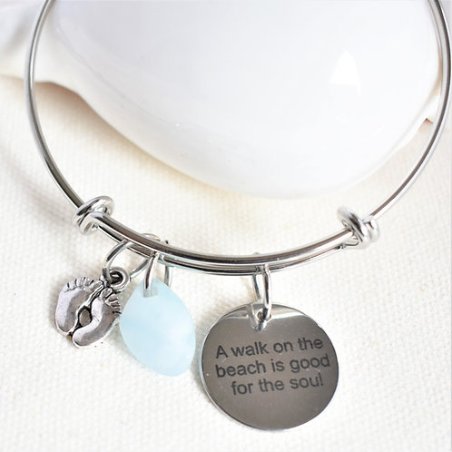 Stainless Steel Bangle: Light Blue Glass, Feet, Saying: A Walk on the Beach...