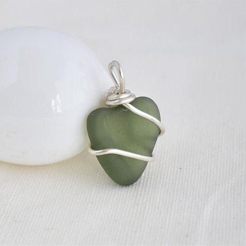 Green Heart Beach Glass Pendant Wrapped in Fine Silver