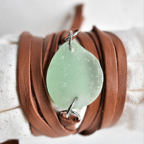 Large Seafoam Green Beach Glass Wrap Around Bracelet on Deerskin