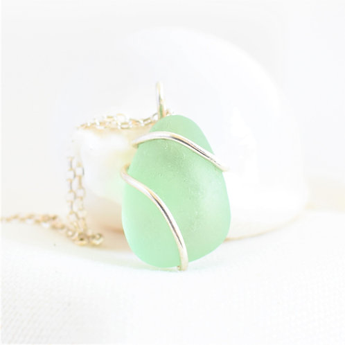 Light Seafoam Green Pendant Wrapped in Fine Silver