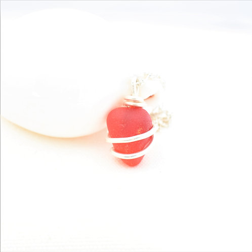 Red Beach Glass Sea Glass Wrapped in Fine Silver