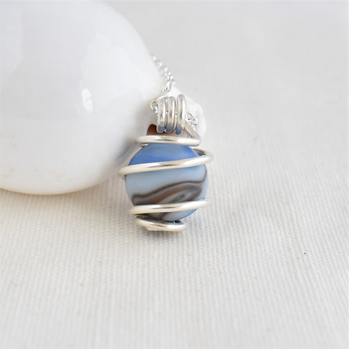 Perfect Frosted Marble Wrapped in Fine Silver