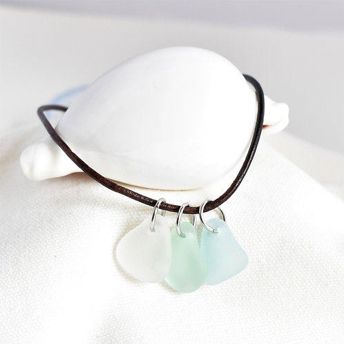 Necklace of Light Pale Blue, Seafoam Green and White Beach Glass on Leather Cord