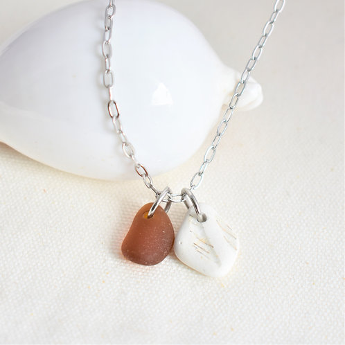 Amber Beach Glass and Smoothed Pottery Shard on Stainless Steel Chain