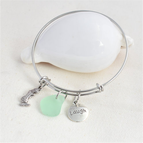 Stainless Steel Bangle: Seafoam Beach Glass Charm with Mermaid and Laugh