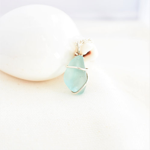 Light Blue Beach Glass Wrapped in Fine Silver
