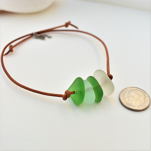Multi color beach glass and leather bracelet