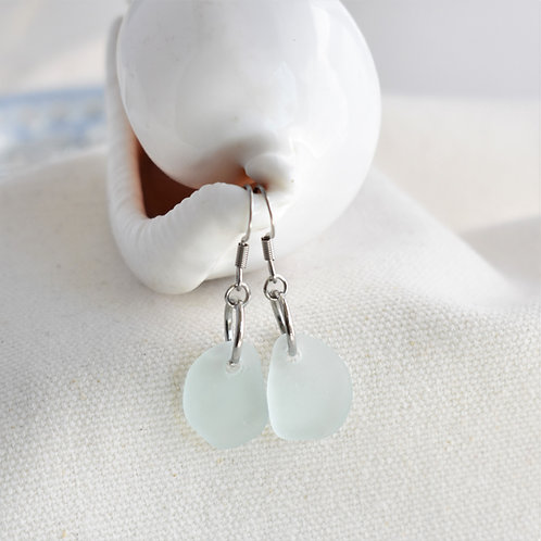 Pale Light Blue Beach Glass Earrings on Stainless Steel Wires