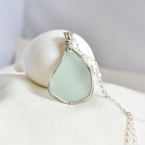 Pale Blue Beach Glass Pendant Wrapped in Fine Silver