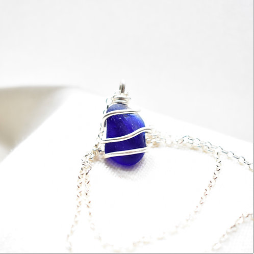 Cobalt Blue Art Glass Pendant Wrapped in Fine Silver