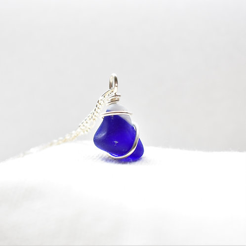 Multi Colbalt Blue and White Art Glass Wrapped in Fine Silver