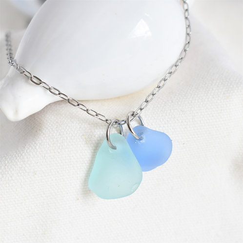 Pale Blue and Cornflower Paired Beach Glass Necklace on Stainless Steel