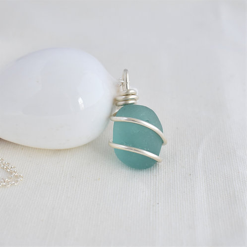Turquoise Pendant Wrapped in thick Fine Silver