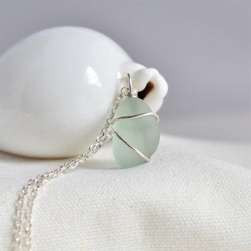 Seafoam Green Beach Glass Pendant Wrapped in Fine Silver