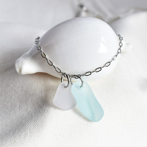 Light Blue Paired with Pale Lavender Beach Glass Necklace, Stainless Steel Chain