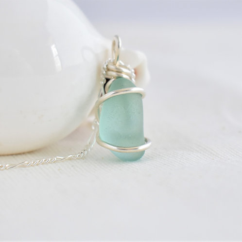 Turquoise Blue Beach Glass Pendant Wrapped in Fine Silver