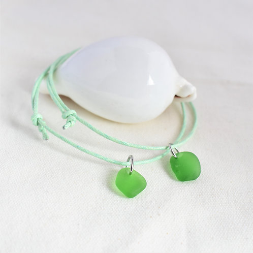 Anklet: Green Glass Charm on Light Mint Green Waxed Cotton Cord: Adjustable