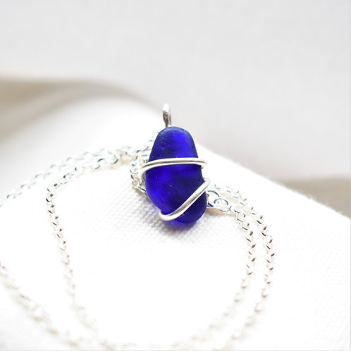 Cobalt Blue Art Glass Wrapped in Fine Silver