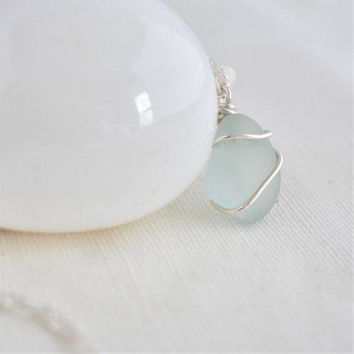 Seafoam Green Beach Glass Sea Glass Pendant Wrapped in Fine Silver