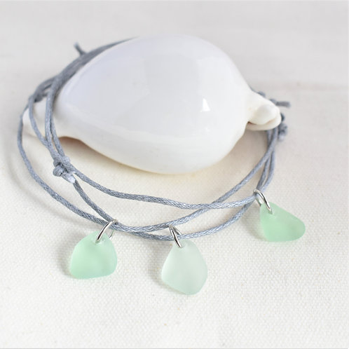 Anklet: Soft Seafoam Green Glass on Grey Waxed Cotton Cord. Adjustable.