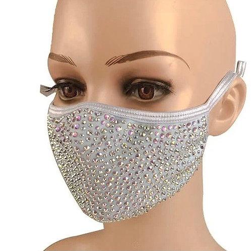 Premium Swarovksi Crystal Face Mask - Moonstone Grey