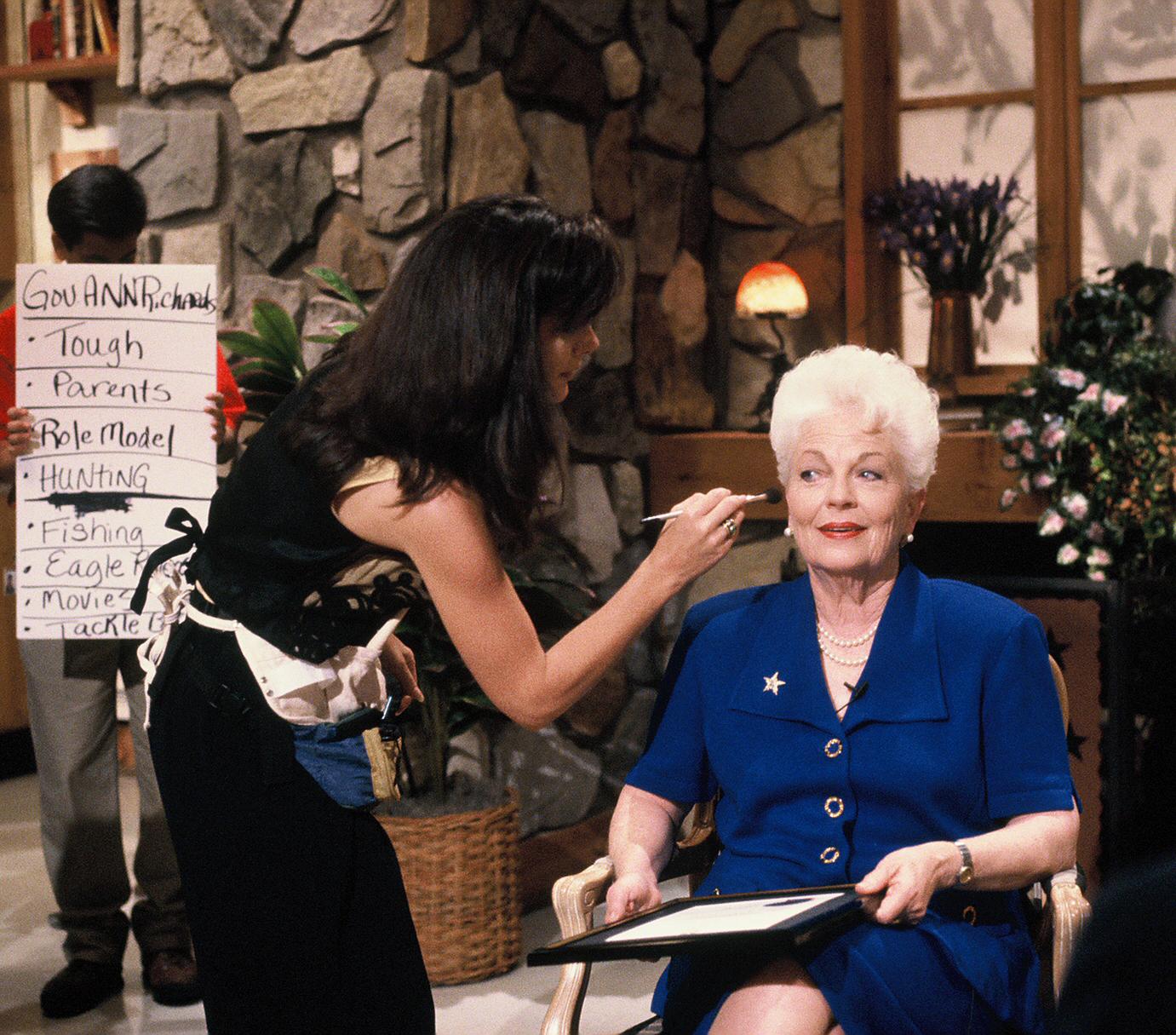 Former Gov. Ann Richards on set