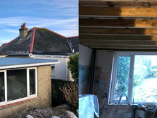 Old felt roof ripped off - new fibre glass roof