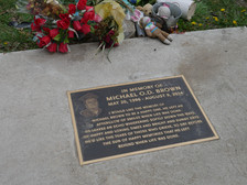 Plaque for Michael Brown, Jr. written by his mother Photo by Echoes Photography