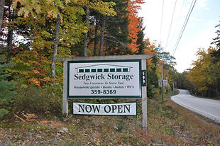 Self-storage near Blue Hill Maine with locations in Sedgwick and Brooksville.  This is the sign you'll see on Route 15 by our driveway.