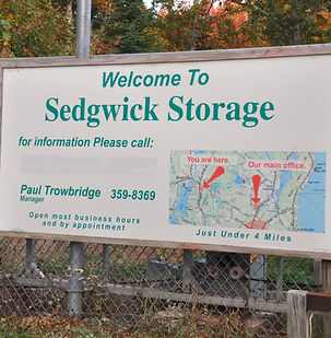 Self-Storage sign showing our two locations on the Blue Hill Peninsula