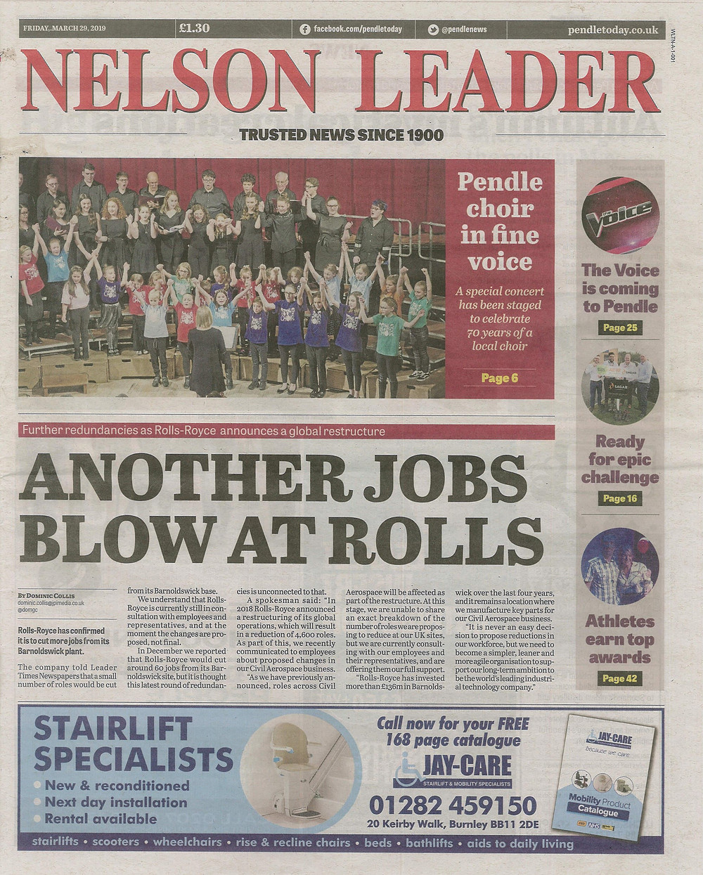 Nelson Leader Front Page 29th March 2019