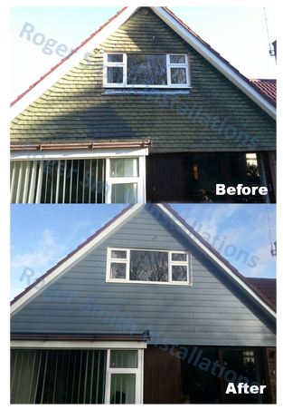 before and after cladding hanging tiles