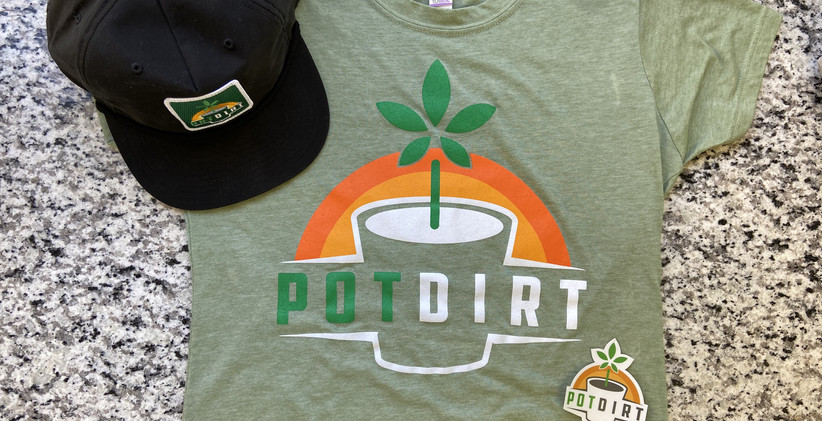 Green PotDirt T-Shirt, Hat, and Sticker.