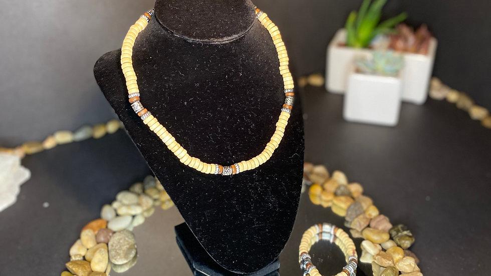 Tan necklace and bracelet