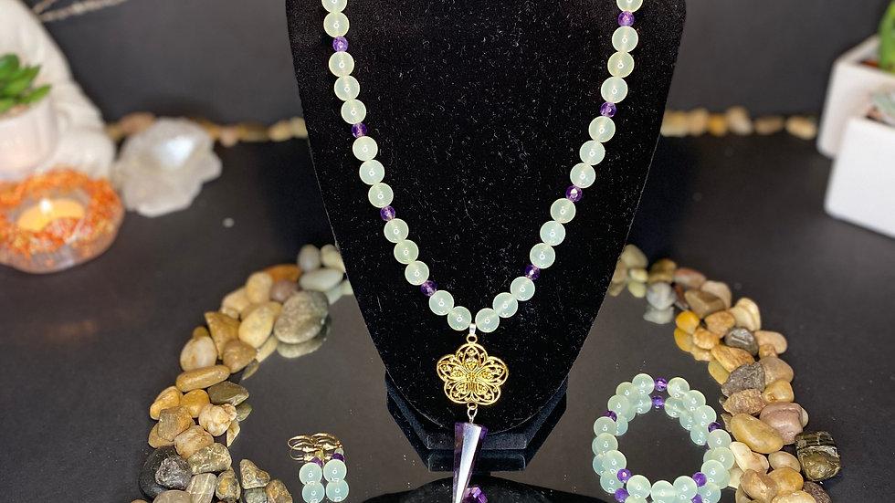 Purple amethyst pendulum necklace w/ bracelet and earrings