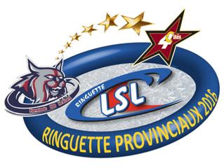 4 athlètes et 4 entraîneurs en action lors du Provincial A & B de Ringuette 2016.
