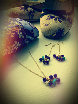 """""""Smile"""" cherry earrings&necklace"""