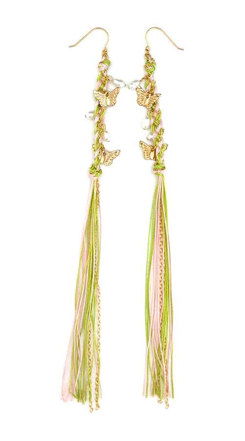 Psyche_earrings_green x pink thread