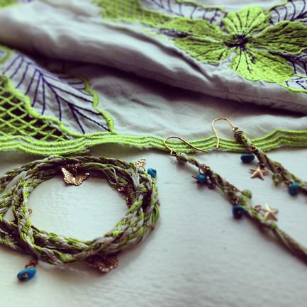 ~2014 collection~Thread earrings & bracelet_green
