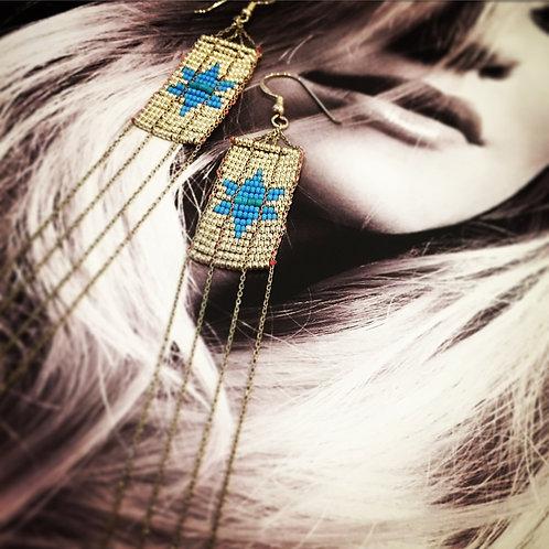 Hexagram Beads Earrings / Silver