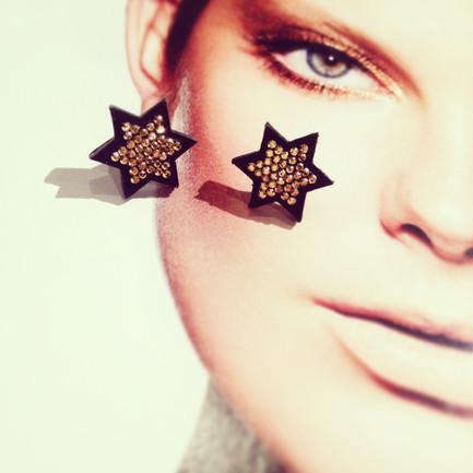 ~2016~Hexagram leather earrings