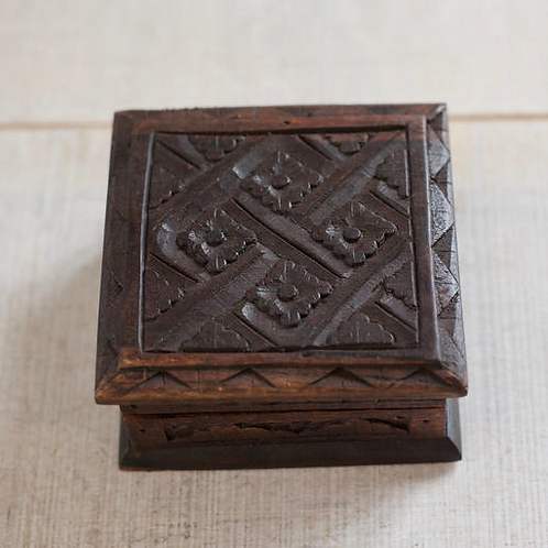 HAND CARVED WOODEN BOX - SMALL