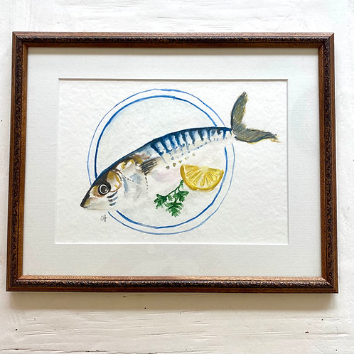 blue and white plate with fish