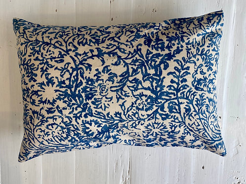Blue & White fine print cushion