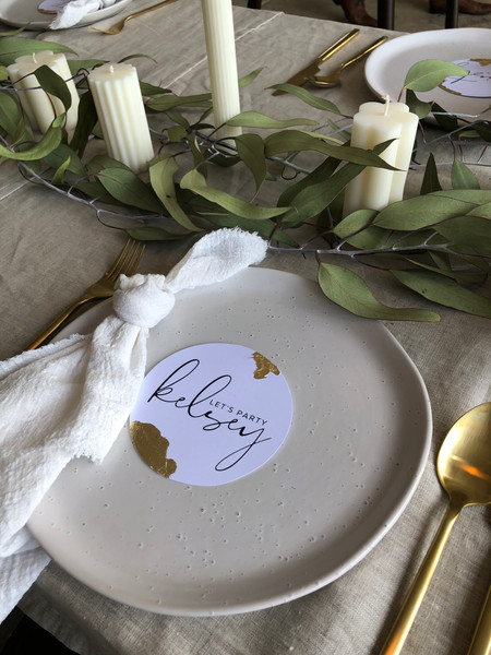 PLACE CARD WITH GOLD LEAF