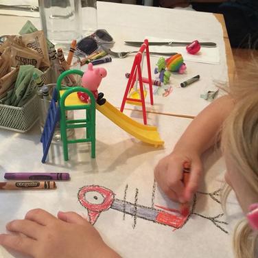 Girl Drawing Egg Table