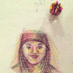 Woman Drawing at Egg