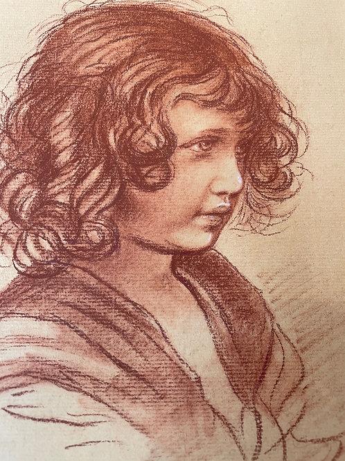 Rötelzeichnung Porträt eines Kindes von Moritz VON SCHWIND