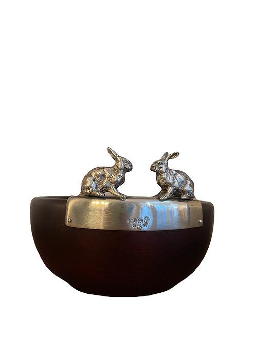 Edelholzschale mit 925 Silber Hasen